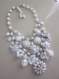 Snow White - I made this today from beautiful vintage milk glass earrings and brooches. Available in my Etsy store. $159