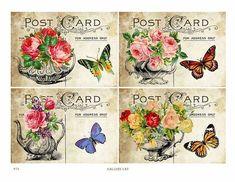 Teekannen und Rosen Digital Collage Sheet Download sofort Papier Handwerk Karte Original skurrilen Kunst verändert durch Galerie Katze CS74