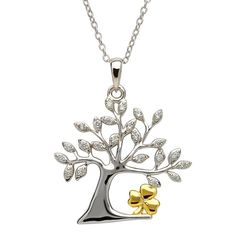 Symbolism and elegance effortlessly are woven together in the stunning Tree of Life Shamrock Pendant. The gorgeous Celtic Tree of Life is made out of sterling silver and adorned with both inset stones and a gold colored shamrock, which rests cradled in the tree's embrace.Symbols of IrelandThe mystical Tree of Life is a popular Celtic design that has connected mankind with nature since 2000 B.C, when carvings of trees began to show up throughout the land. The impressive characteristics of…