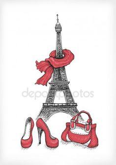Bolso, zapatos y torre eiffel Ilustraciones De Stock Sin Royalties Gratis