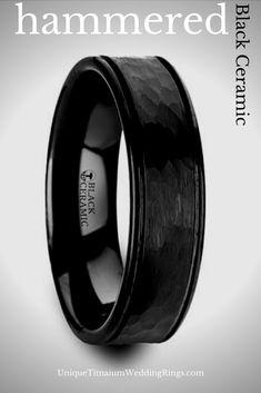 164df72ac3f4 Black Ceramic wedding ring with hammered center