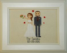 Cotton anniversary gift for her him Cross stitch portrait