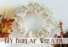 DIY Burlap Wreath Tutorial by KristinaJupi Burlap Projects, Burlap Crafts, Wreath Crafts, Diy Wreath, Diy Crafts, Burlap Wreaths, Wreath Ideas, Burlap Flowers, Diy Projects