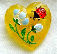 Czech glass heart button