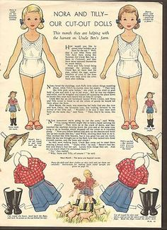 VINTAGE MAGAZINE PAPER DOLLS ENGLAND WOMAN & HOME MAG 1950's-60's NORA & TILLY