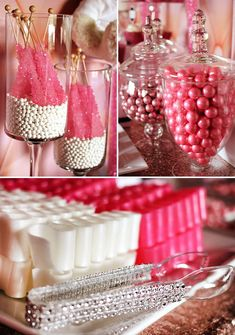 Love, love, love this candy buffet. How To Set Up A Candy Buffet (Step By Step Instructions! Candy Buffet Tables, Dessert Buffet, Candy Table, Buffet Ideas, Pink Candy Buffet, Pink Dessert Tables, Sweet 16 Parties, Pink Parties, Birthday Parties