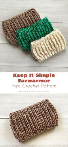 Easy Crochet Headbands, Easy Crochet Hat, Crochet Crafts, Crocheted Hats, Crochet Books, Crochet Doilies, Crochet Stitches, Crochet Ear Warmer Pattern, Knitted Headband Free Pattern