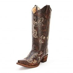 Circle G Distressed Floral Embroidered Cowgirl Boots