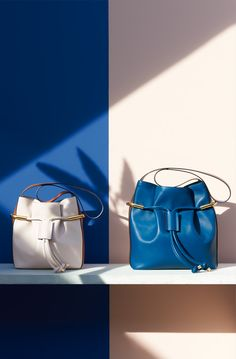 Chloe Spring 2015 Emma Bag in milky white and factory blue.
