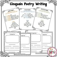 This FREE Cinquain Poetry Writing pack contains 3 different ways to write Cinquain Poems (Word Count, Syllable, and Personal). A Cinquain poem is a verse of 5 lines that do not rhyme but follow a pattern. This pack includes the pattern and an example of each poem.