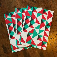 Writing 2015's seasonal communiques was a pleasure thanks to these cards, designed and screen printed by Bonnie Craig. Check out www.bonnie-craig.com for more cards and prints. - #colour #patterns #screenprinting #screenprint #geometric #geometricprints #geometricpattern #christmascards #greetingcards Screenprinting, Surface Design, Printmaking, Christmas Cards, Product Launch, Greeting Cards, Seasons, Colour, Quilts