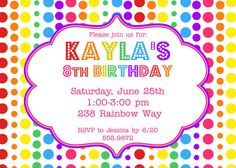 Rainbow Birthday Party Invitation by mlarson17 on Etsy, $12.00