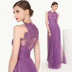 2015 Purple Vintage High Neck Lace Evening Special Occasion Dresses Women Formal Long Prom Gowns Vestido De Formatura E6418
