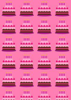 FREE printable birthday paper - chocolate birthday cakes on pink ^^