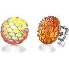 SheIn(sheinside) Ombre Scale Stud Earrings (26 DKK) ❤ liked on Polyvore featuring jewelry, earrings, orange, stud earrings, orange earrings, ombre earrings, studded jewelry and earring jewelry