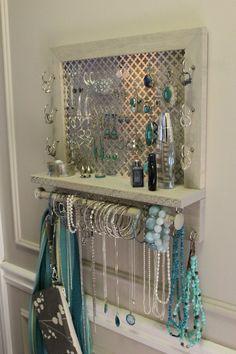 You Pick, Clover Mesh Series Wall Mounted Jewelry Organizer, Wall Organizer, Jewelry Display, Neckla