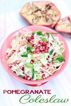 Pomegranate coleslaw, perfect for Rosh Hashanah (it's got apples and honey too!)