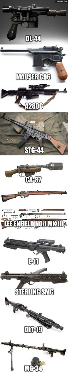 Weapons from Star Wars (above), and real weapons they are based on (below) View Full Article Star Wars Art, Star Trek, Airsoft, Tableau Star Wars, Sci Fi Weapons, Fantasy Weapons, The Force Is Strong, Love Stars, Lightsaber