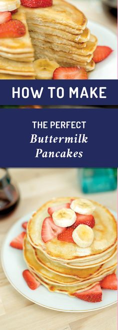 Buttermilk Pancakes Classic buttermilk pancakes are an American breakfast staple. Buttermilk Recipes, Buttermilk Pancakes, Best Breakfast Recipes, Quick And Easy Breakfast, Breakfast Ideas, American Pancakes, American Breakfast, Pancake Healthy, Tater Tot Breakfast Casserole