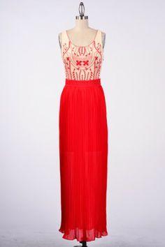 •#salediem #fashion #women'sfashion #maxi #longdress FLORAL EMBROIDERED BODICE ACCORDION PLEAT CHIFFON MAXI DRESS
