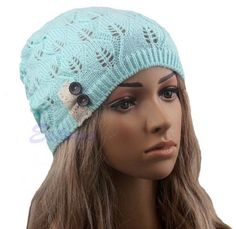 New Stylish Ladies Women Wool Button Lace Patchwork Knitted Warm Hat Warm Winter Hats, Winter Hats For Women, Crochet Wool, Lace Knitting, Knitting Patterns, Cotton Beanie, Knit Beanie, Knitted Cat, Lace Button