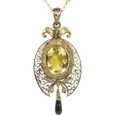 Antique Necklace Victorian 1870's Rose Cut Diamond, Onyx & Citrine Filigree Pendant Locket Necklace w/ Chain 15k/18k