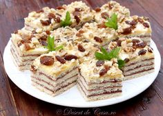 Prajitura Arlechin Food Network Recipes, Cooking Recipes, Pinterest Recipes, Dessert Recipes, Desserts, Great Recipes, Gem, Caramel, Easy Meals