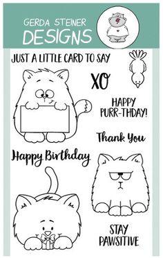 All Cats 4x6 Clear Stamp Set cat bird gerda steiner designs gsd-stamps.com pausitive purr-thday $14.99