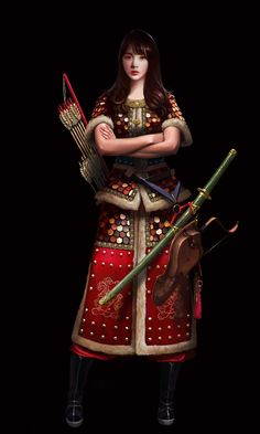 Joseon Dynasty 3 by Choong Yeol Lee Female Character Design, Character Concept, Concept Art, Character Ideas, Game Concept, Character Inspiration, Dynasty Clothing, Chinese Armor, Japanese Warrior