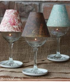Wine Glass Lamp Shade DIY Project (Free template included) These are elegant and perfect on a table setting or on a mantle. You can use tealights or electric tealights too. Super easy to make with the template! #Papercrafts #CraftIdeas