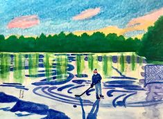 Outdoor Hockey on Ice Trenton Ontario Get Prints Here! another option is to get the digital to make own print Suzann. Trenton Ontario, Canadian Art, Hockey, Canada, Ice, Digital, Prints, Painting, Outdoor