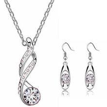 Forme a mujeres la joyería conjuntos de plata chapado en oro cristal austriaco pendientes del collar colgante collares de cadena para la mujer regalo(China (Mainland))