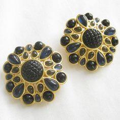 Vintage Deep Blue and Grey Cabochon Earrings by BillsVintageVault, $14.00 #vjse2 #vintage #jewelry #boebot2