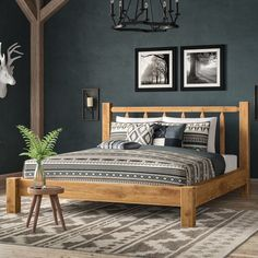 Loon Peak Abella Platform Bed Colour: Ready to Finish, Size: King Home Interior, Interior Design, Rustic Bedding, Rustic Headboards, Reclaimed Wood Headboard, Home Bedroom, Rustic Master Bedroom, Woodsy Bedroom, Rustic Bedroom Design