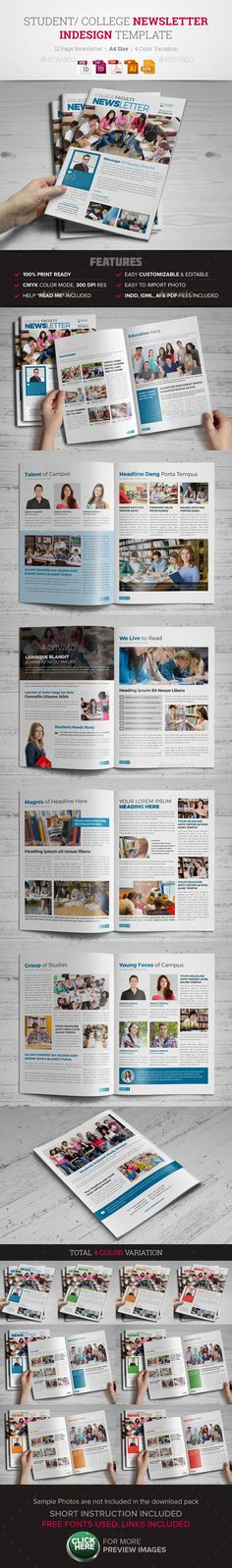 Student College Newsletter Indesign Template #design Download: http://graphicriver.net/item/student-college-newsletter-indesign-template-/12087210?ref=ksioks