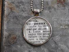 Carpe Diem Seize the Day Dictionary Word Necklace   made by www.kraftykash.net  $18.00 #handmade #jewelry