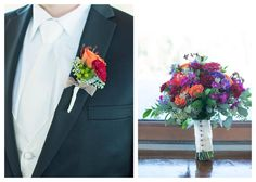 The bouquets and boutonnieres are filled with stunning vibrant fall colors. Wedding Photographer: Loved Memories Photography & Videography.