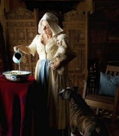 In style of The milk maid by Johannes Vermeer (Do you know who? Post below, thanks. ) Love the use of light.