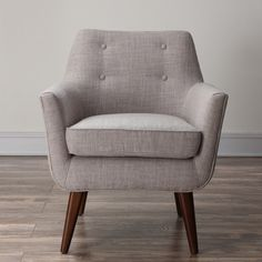 @Overstock - Clyde Beige Linen Chair - This Clyde chair has a clean mid-century aesthetic while the small scale button tufting adds a pop of personality. Perched on solid wood legs, this chair is a true classic and is a fashionable addition to living rooms, bedrooms and entryways.  http://www.overstock.com/Home-Garden/Clyde-Beige-Linen-Chair/8819026/product.html?CID=214117 $362.99