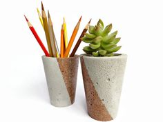 Hey, I found this really awesome Etsy listing at https://www.etsy.com/listing/222699689/set-of-2-concrete-gray-copper-pencil