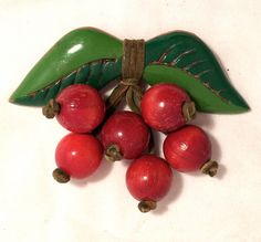 1940s Carved  Wooden Cherry Brooch