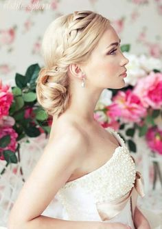 Hairstyle - soft and elegant- braid on side with low pulled up bun in back, wedding pic