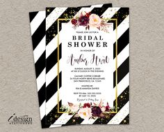 Floral Bridal Shower Invitation | Elegant Printable Black White Striped  Wedding Shower Invitations With Gold Glitter