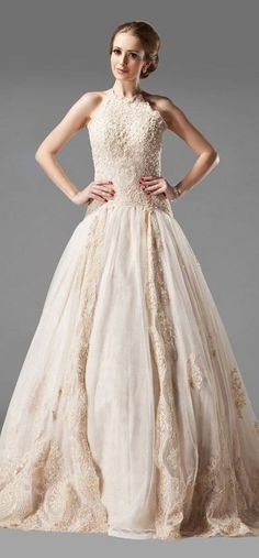 A-Line Princess Halter Chapel Train Tulle Wedding Dress With Lace Beading 4cdc8c3b5d91