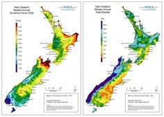 New Zealand sunshine hours and rainfall maps