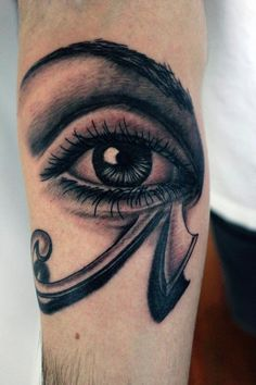Arm Grey Ink Horus Eye Tattoo
