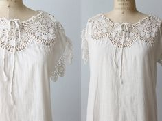 Vintage 1900s white chemise underwear with a crochet bodice and drawstring neckline. The crotch piece has been cut off and left unfinished. You may wish to hem up this small area and wear this like a dress. Garment fits loose. --- M E A S U R E M E N T S ---  Fits like a small to medium Bust: 46 Waist: 48 Hip: open Length: approximately 37 Shoulder: undefined Label/Era: - / Early 1900s Fabric: cotton Condition: The crotch piece has been cut off and left unfinished. There are some light grey…