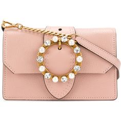 Miu Miu Mini Pink Leather Crystal Buckle Miu Lady bag ($1,330) ❤ liked on Polyvore featuring bags, handbags, shoulder bags, borse, leather handbags, red shoulder bag, pink leather purse, pink leather handbags and red purse