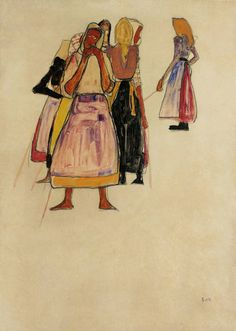 Peasant Women, 1910 | From a unique collection of portrait drawings and watercolors at https://www.1stdibs.com/art/drawings-watercolor-paintings/portrait-drawings-watercolors/