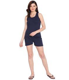 7814bdb566c2ca American-Elm Women s Navy Solid Cotton Slim Fit Boat Neck 2 Pc Night Set.  Shop for trendy